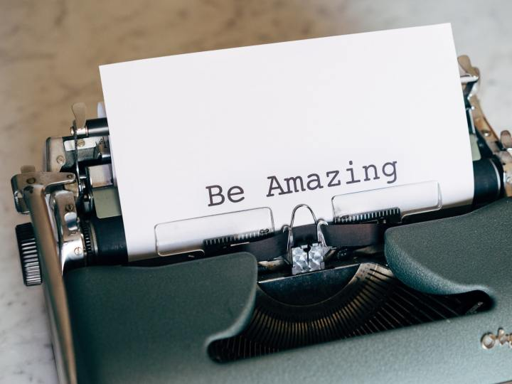 be amazing text on a typewriter