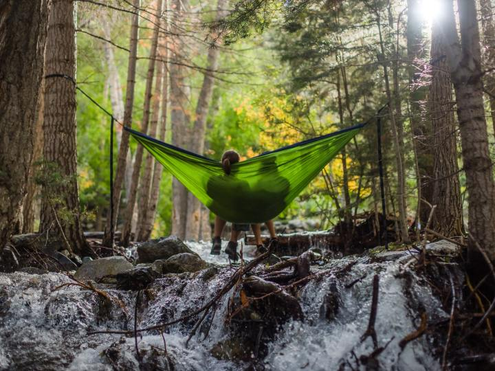 Couple in hammock resting in the woods
